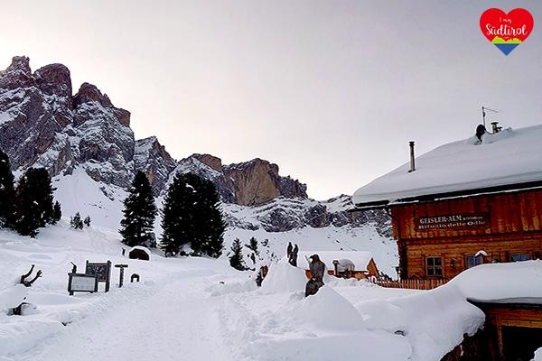Winterwanderung Villnösseralm – Geislerhütte