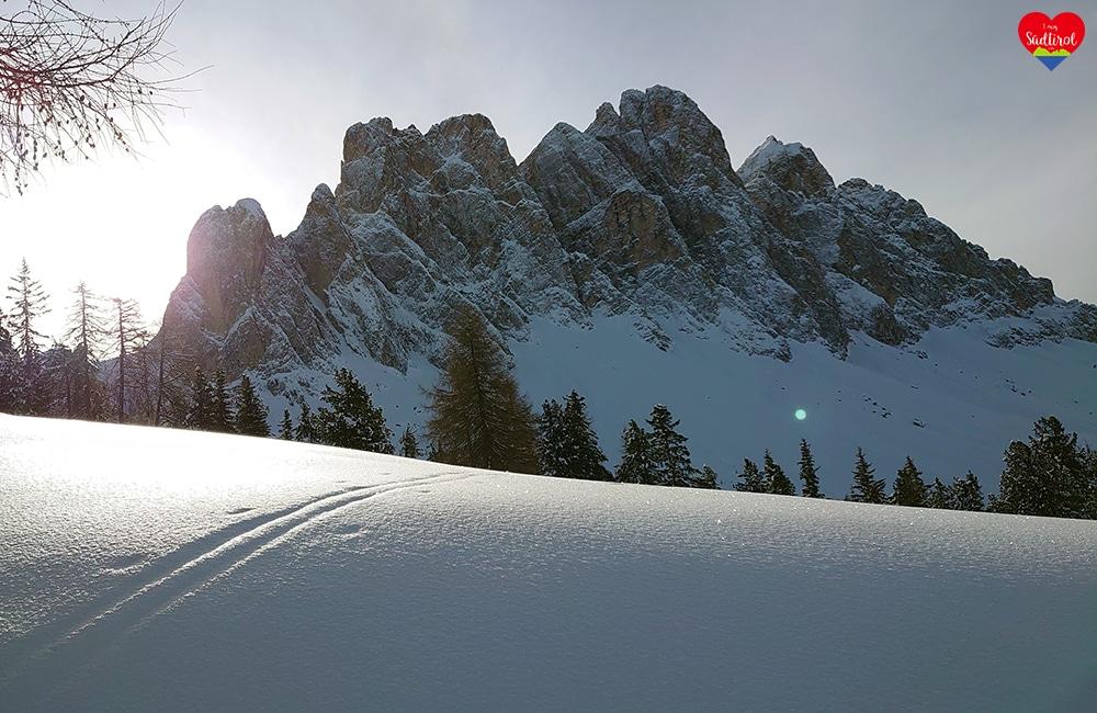Wintertour zur Gampenalm - schöner Blick auf die Geislerspitzen