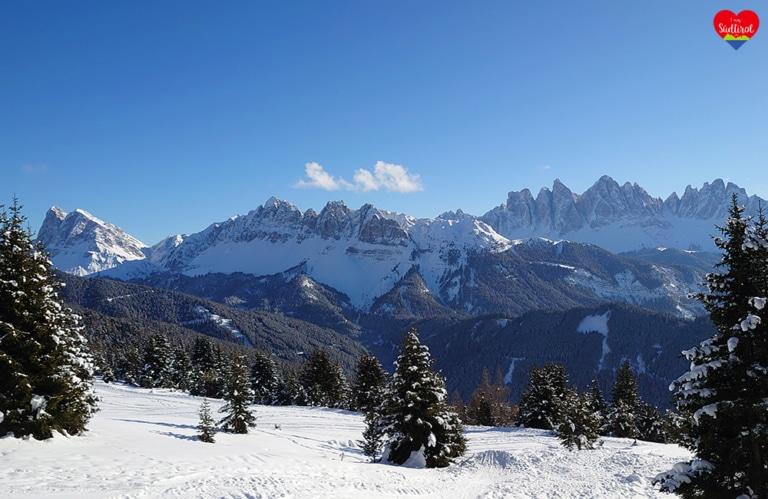 Winterwanderung Rossalm - Blick auf die Aferer und Villnösser