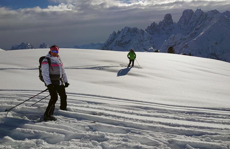 Rückfahrt mit den Ski