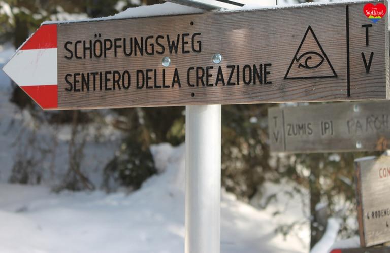 Wanderung zur Roneralm - Abzweigung Schöpfungsweg