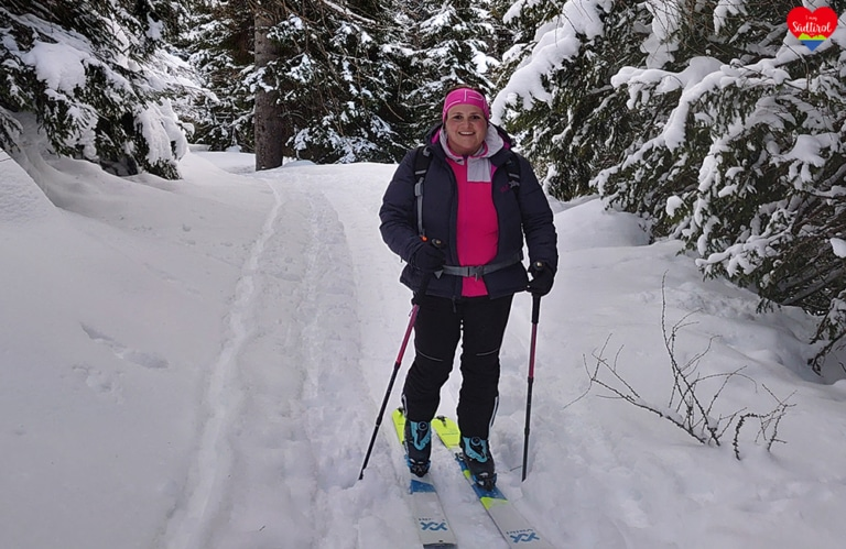 Wintertour zur Gampenalm - meine Schwester